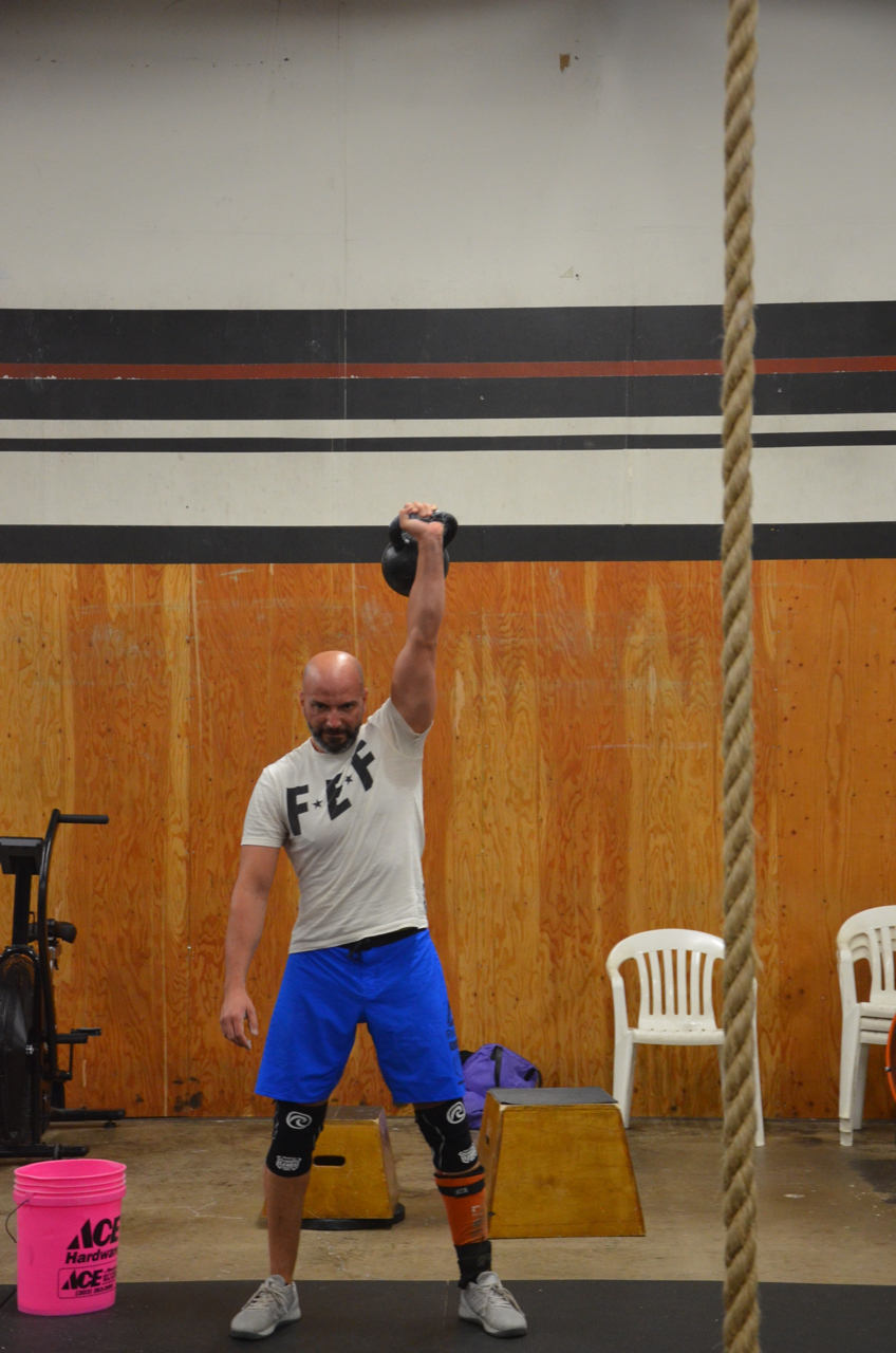 Shady showing a nice lock out during the kettlebell snatch.