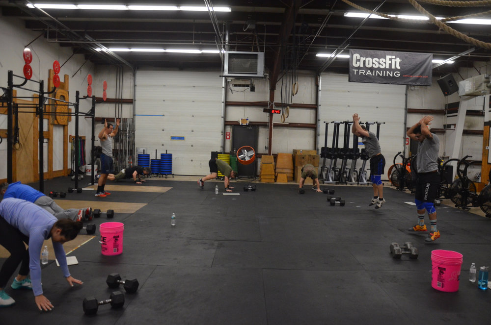 The 6am class staying together through their burpees.