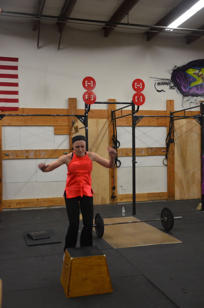 Stacy working through her box jumps.