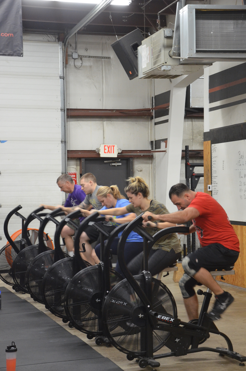 The 5pm class taking on the bikes.