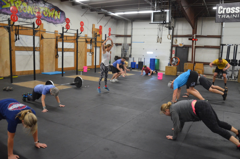 The 4pm class during the final minute of burpees.