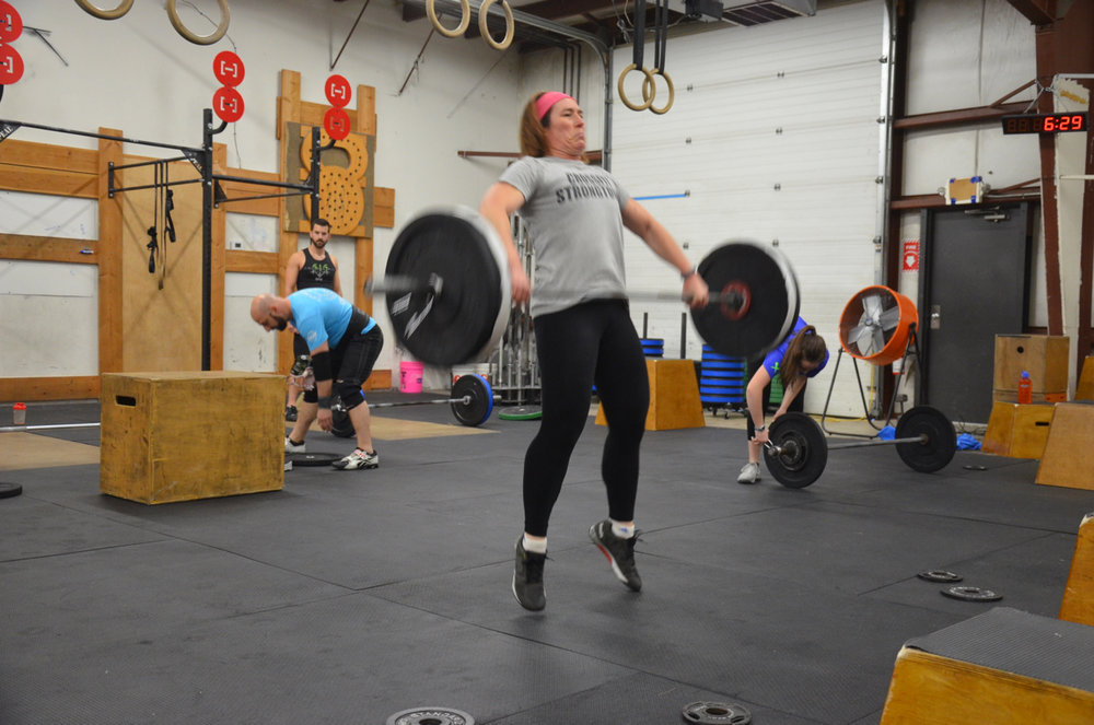 Rachel showing a great pull during her hang snatch.