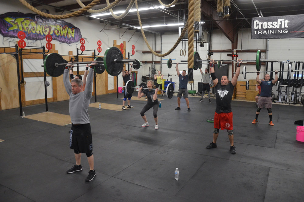 "The 5pm class at the start of ""Death by Thruster and Toes to bar"""