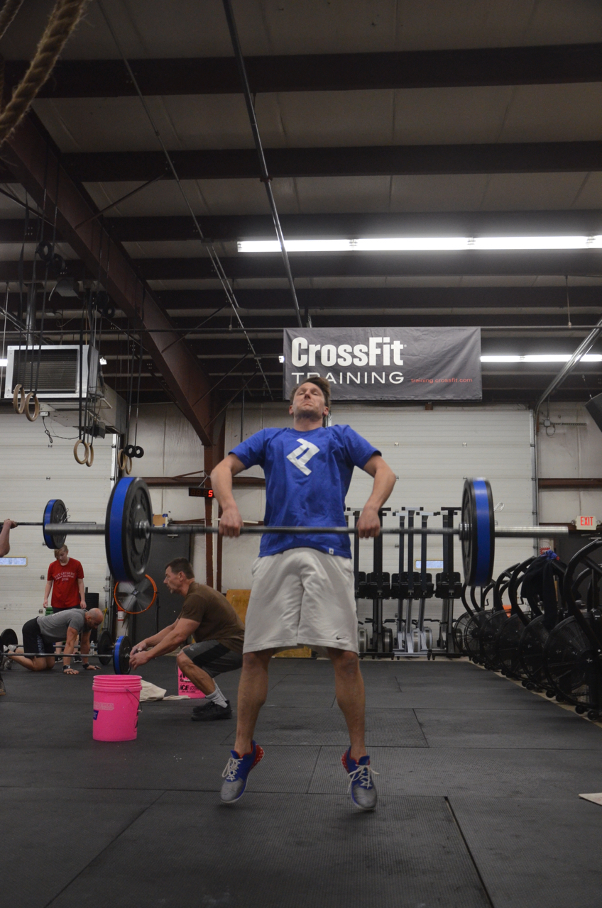 Rich making sure to get his triple extension on his pull for his power clean.