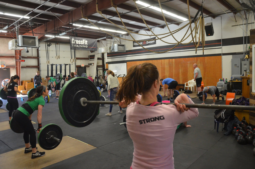 Gail showing great elbows on her power cleans.