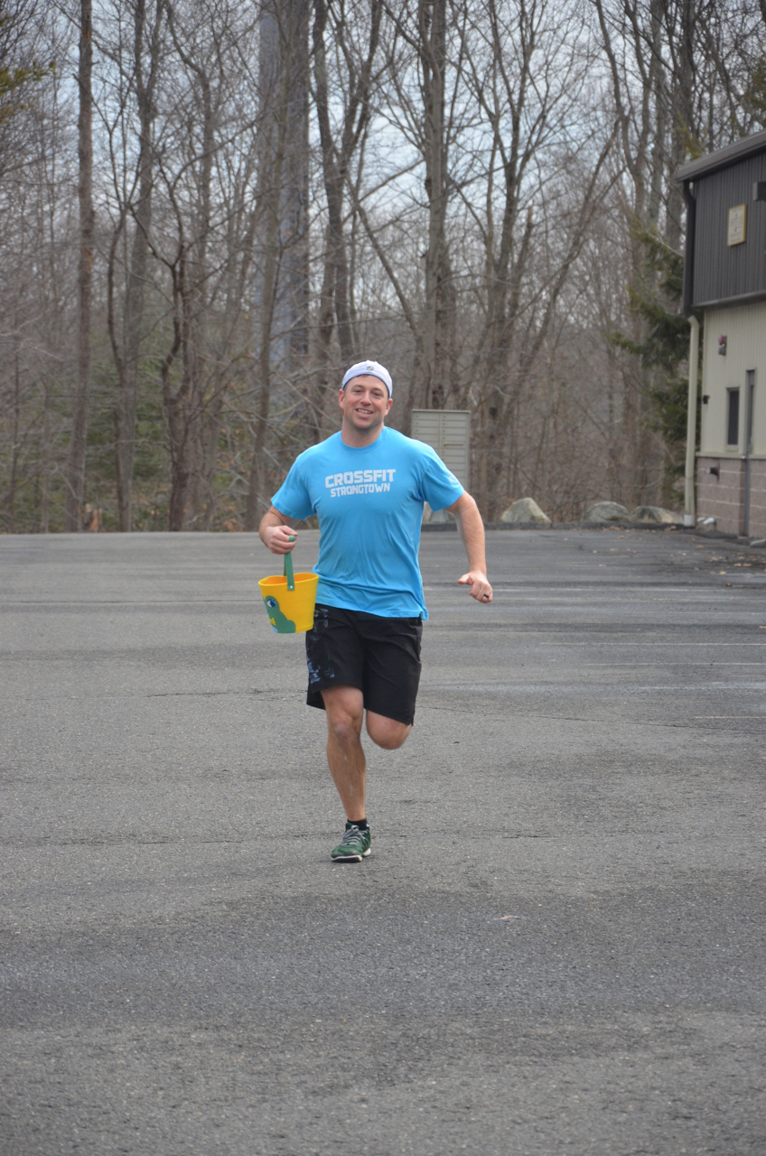 Babington on his 200m run during Sunday's Easter egg hunt workout.