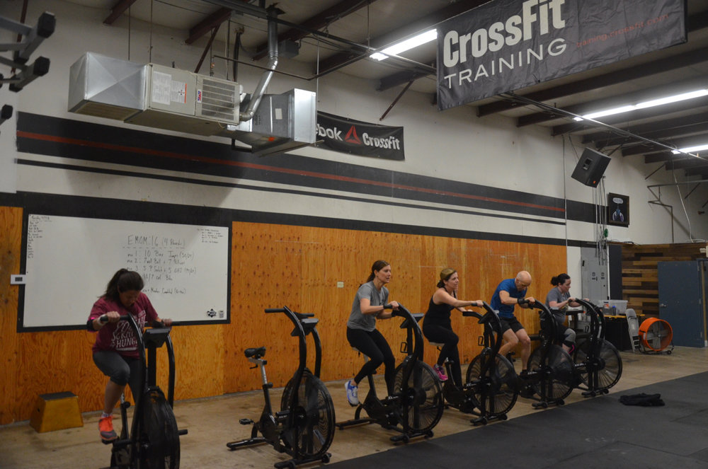 The 8am ladies and Alan working through their 10/7 calories on the Xebex fitness bike.