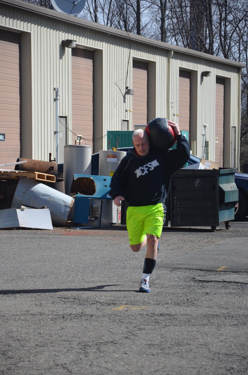 Paul during Sunday's partner med-ball run.