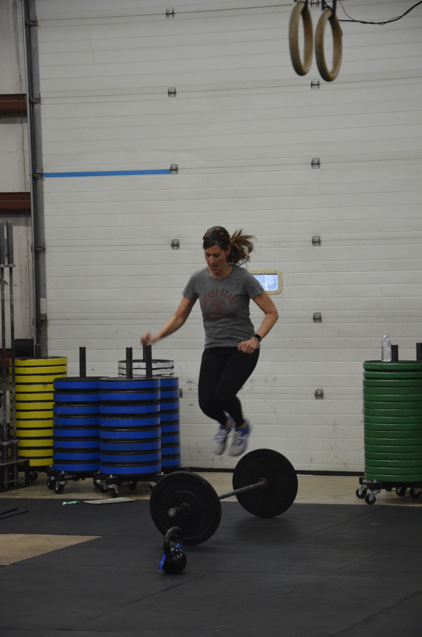 Sharon making sure to clear the bar during the lateral bar hops.