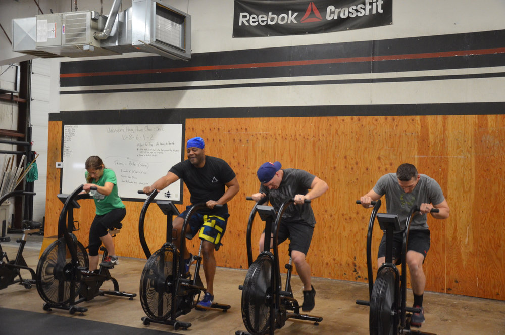 """Heat 2 of the 9:30am class during """"Tabata"""" bike max calories."""