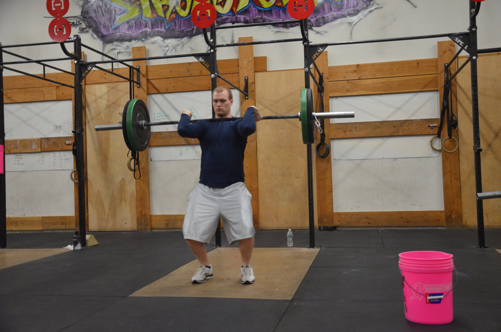 Ryan showing a great catch and elbows on his Hang Power Clean.