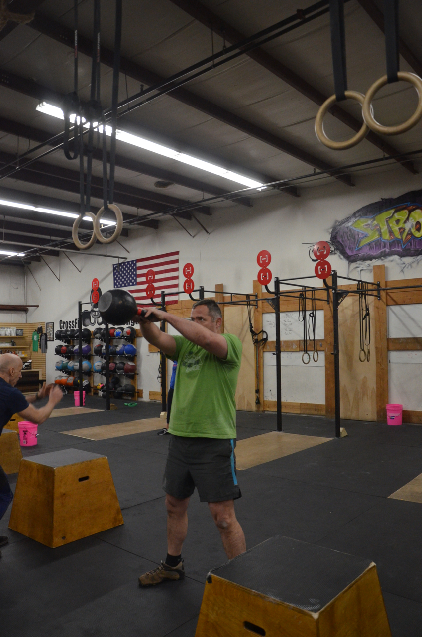 Bob staying focused during his kettlebell swings.