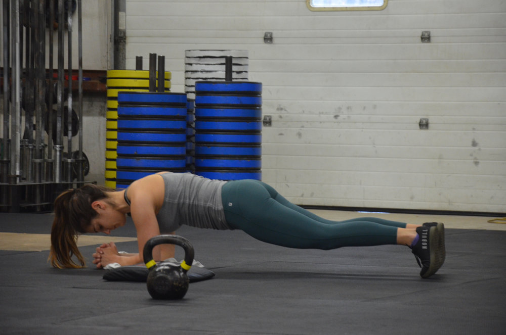 Kat during her low plank hold.