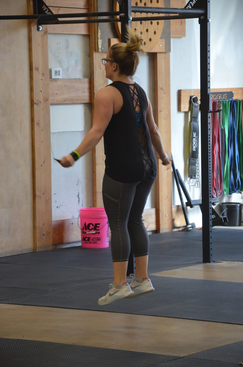 Lu during her first set of 100 double unders.