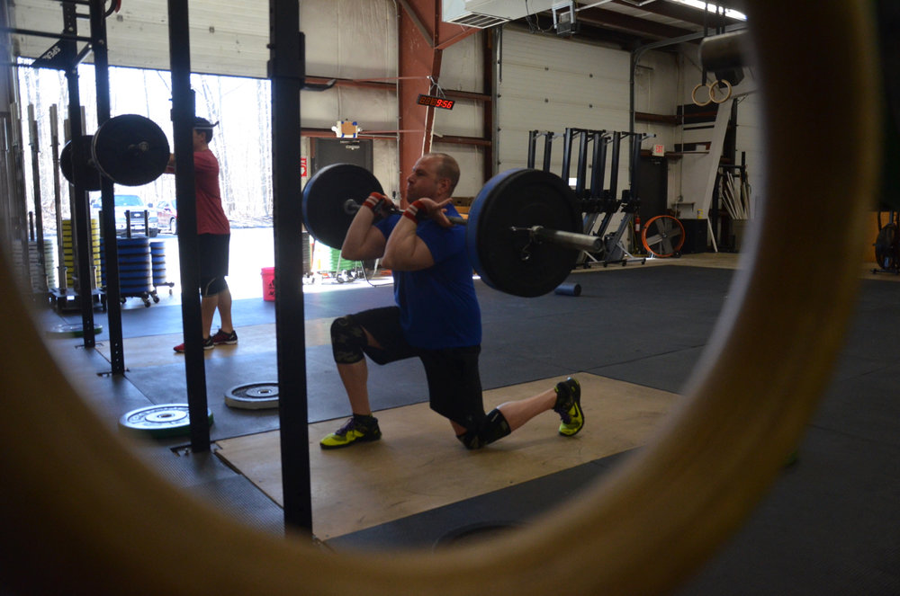 Rob showing good form during his front rack barbell lunge.