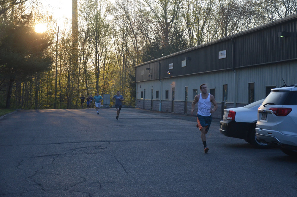 Kyle and the 6am class on their first 200 meter sprint.