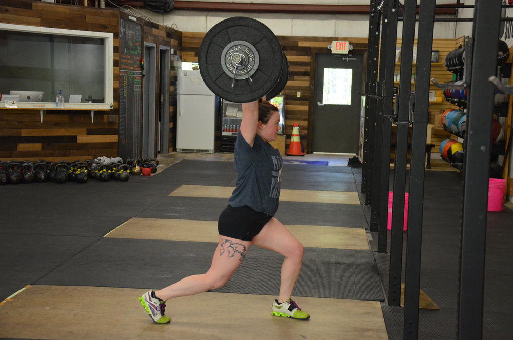 Tay Tay showing a great catch position on her split jerk.