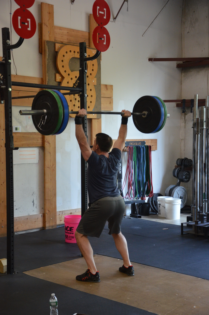 Brian making sure to get below the bar for his push jerk.