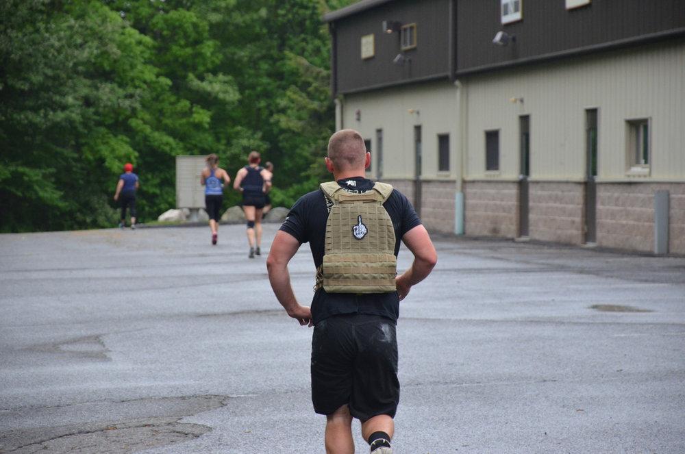 Garrett on his last mile run.
