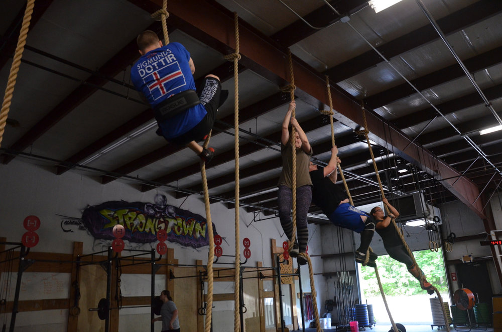 The Friday 5:30pm class during their first set of rope climbs.