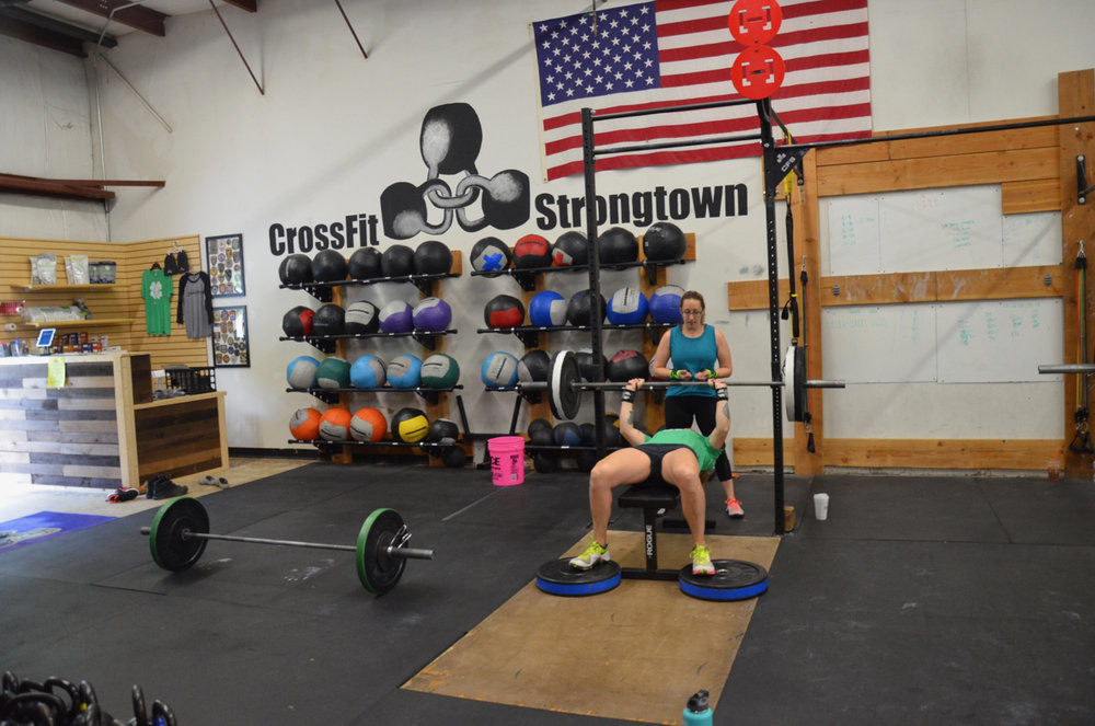 "Heidi and Annette during Sunday's partner wod ""Elizabethish"""