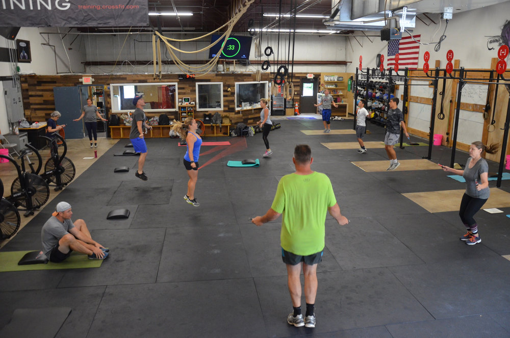 The 9:30am class during the first set of fifty double under and sit-ups.