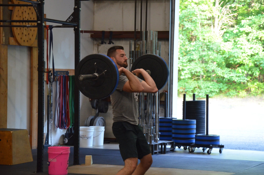 Rob L. showing nice elbows on his power cleans.