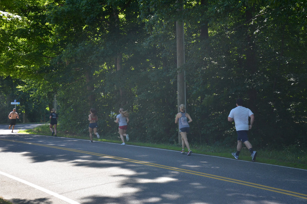 The 4pm class on their first 800m run.
