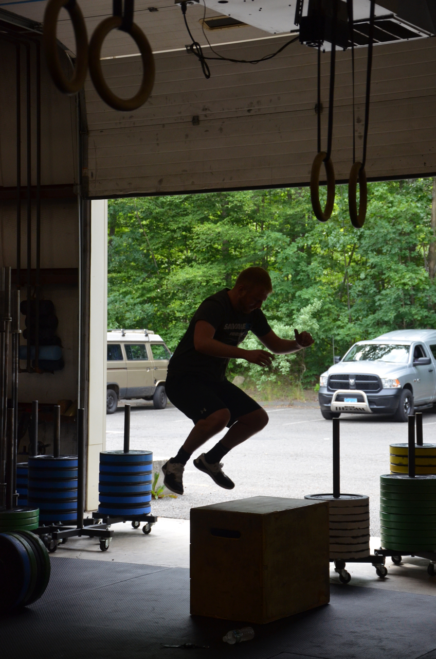Madden mid air during his box jumps.