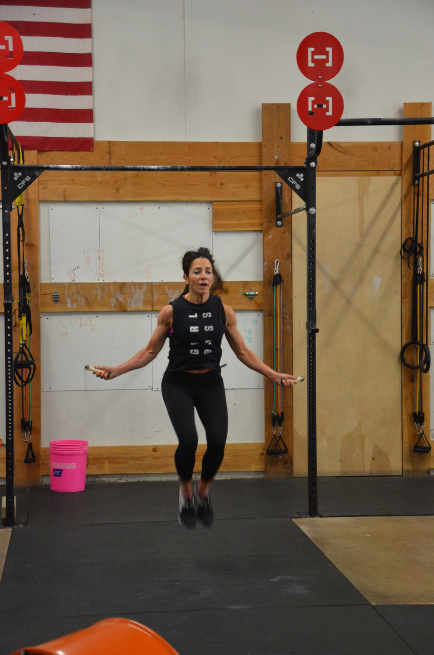 Holly working through her 150 Double Unders during Friday's workout.