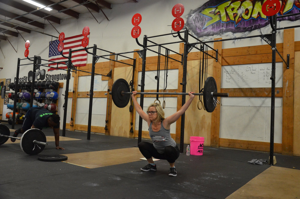Paula showing great depth on her squat snatch.