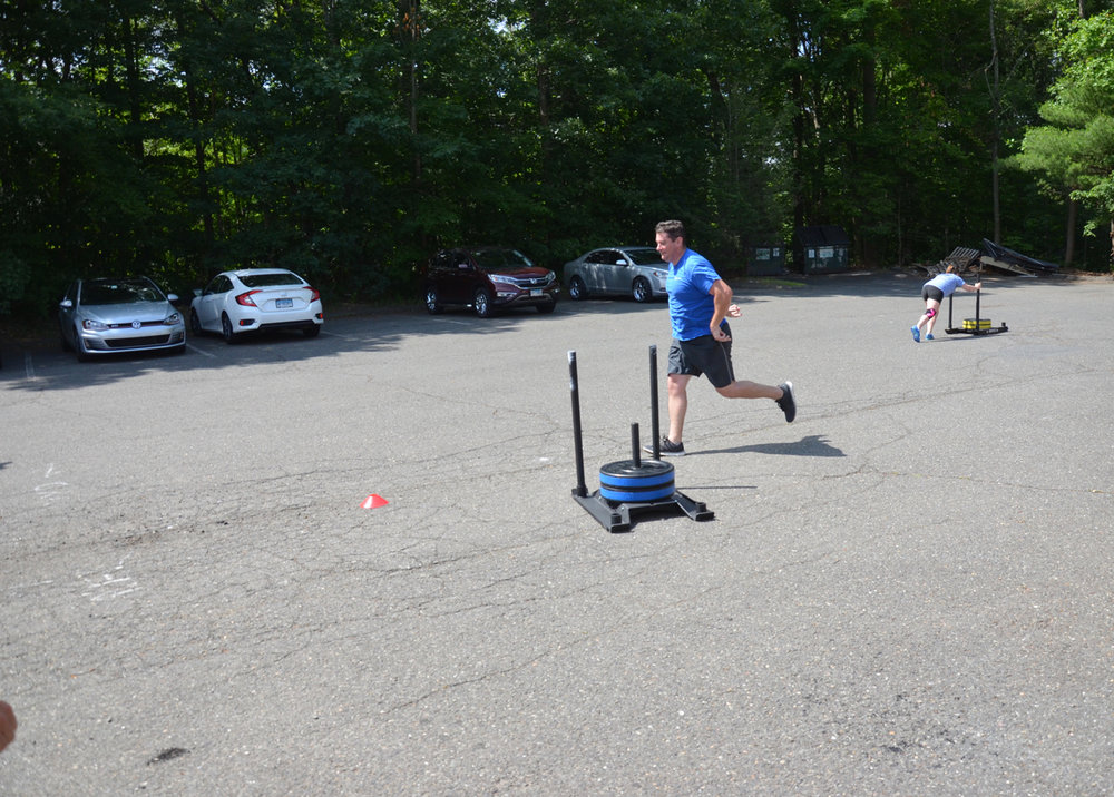 Barry ghost riding the sled at the 40ft turn for his 80ft sled push.
