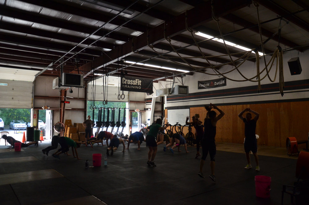 Sunday's partner wod had a 4 minute cash out of synchronized partner burpees.