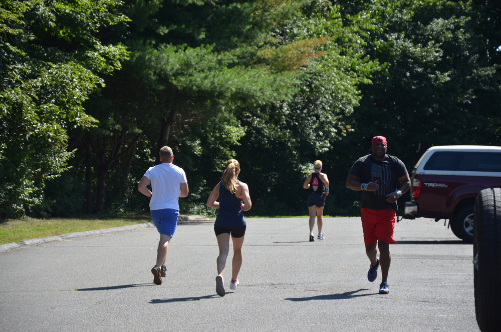 Scotty, Sophia, Stacy and Bike Mike on the 800 meter run.
