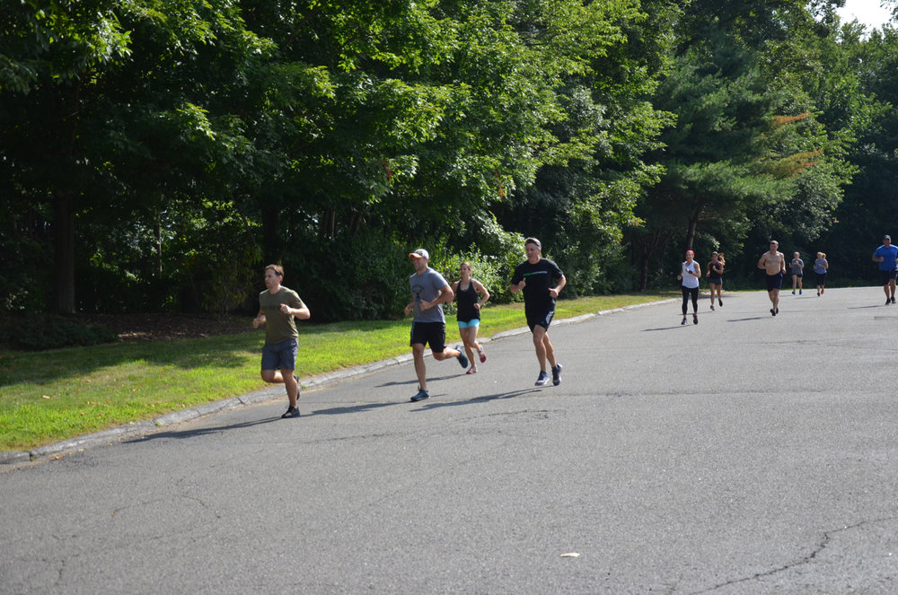 Saturday's 9am class heading out for their 1.5 mile run.