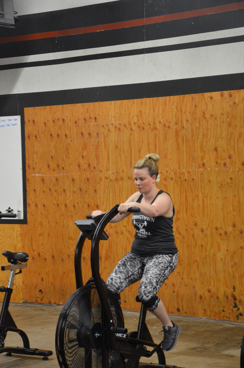 Jen during her 10 calories on the Xebex Fitness Bike.