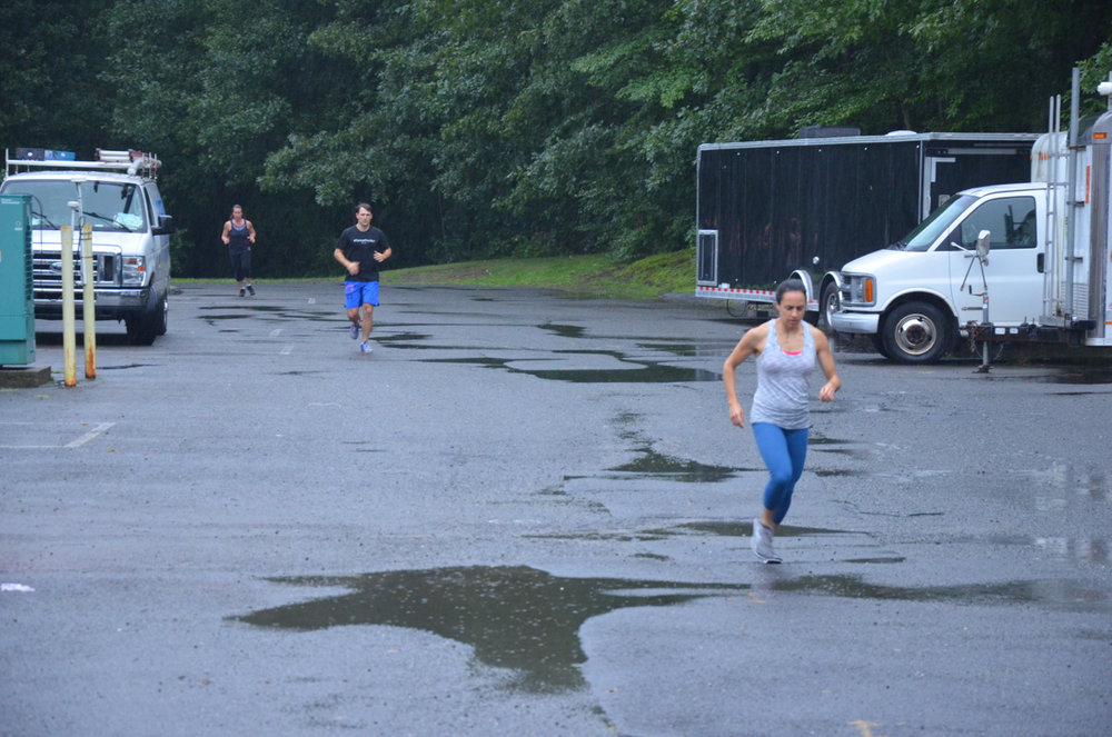 The rain did not stop Kate, Rich and Rachel.