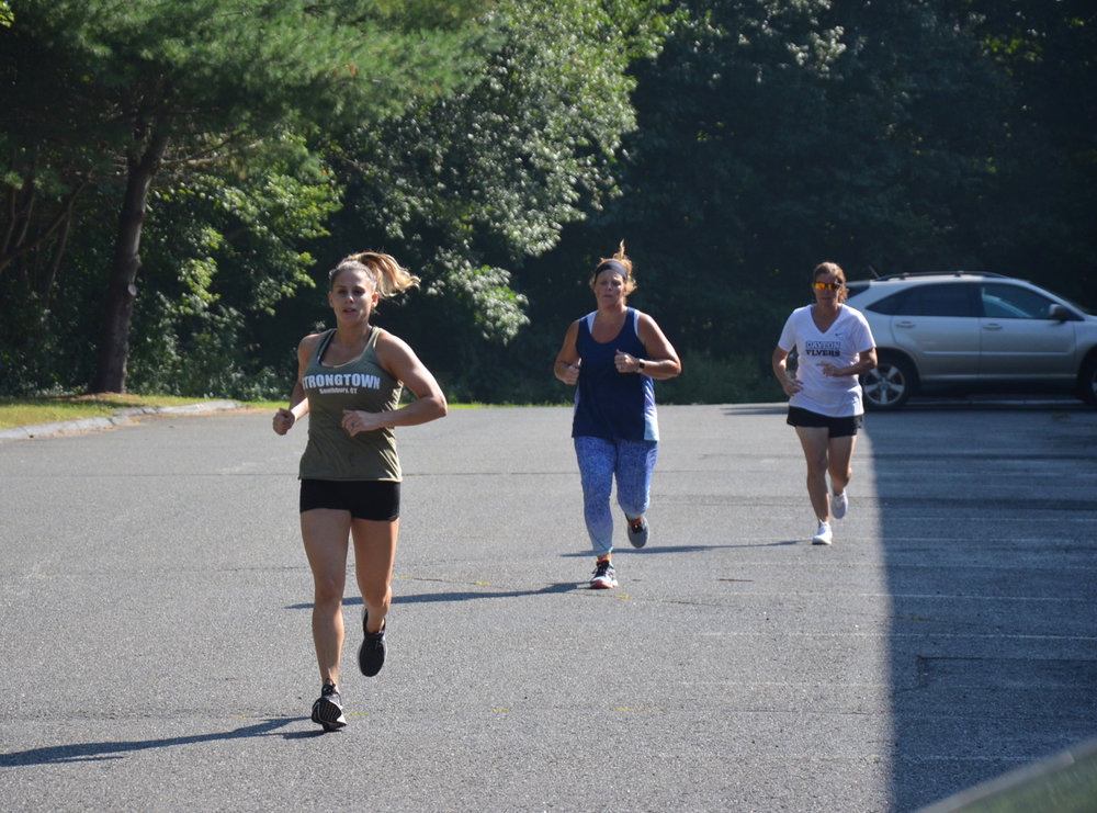 Sabrina, Jenn and Susie during the first 400 meter run.