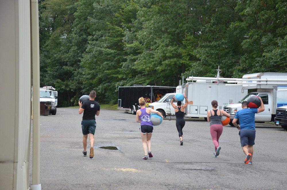 The 4pm class on their first 200 meter Medicine-Ball run.