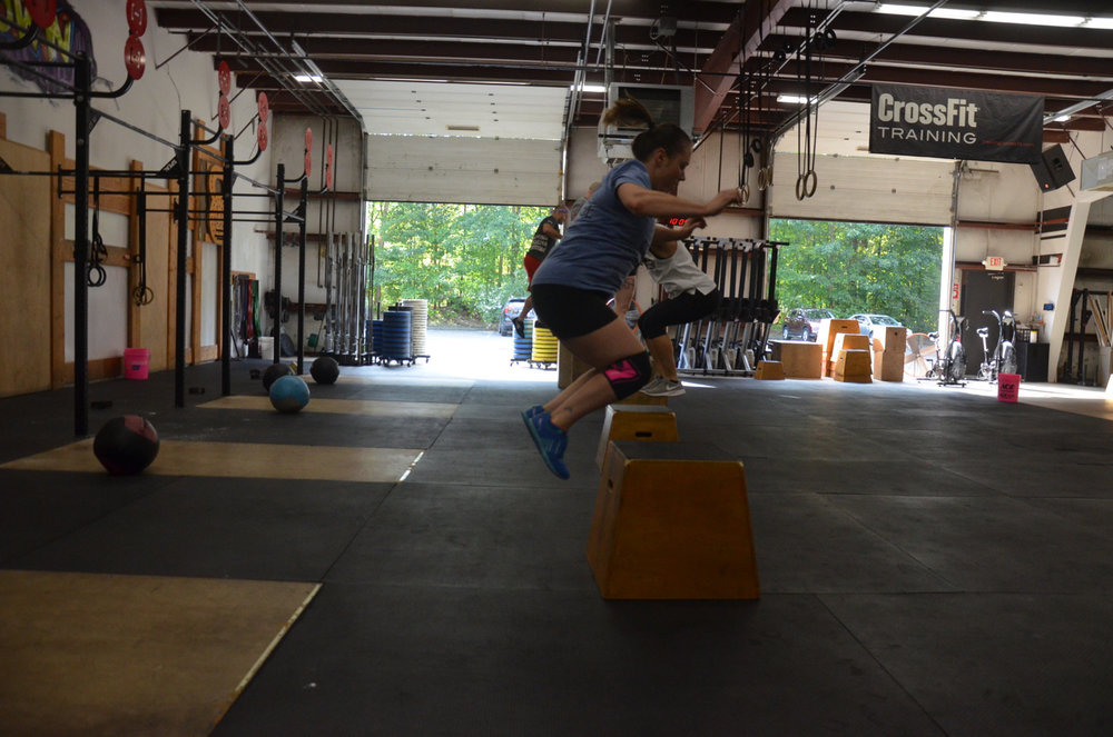 Courtney getting some air on her Box Jumps.