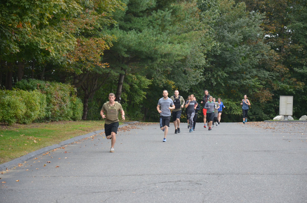 Saturday's 9am class heading out for their mile.