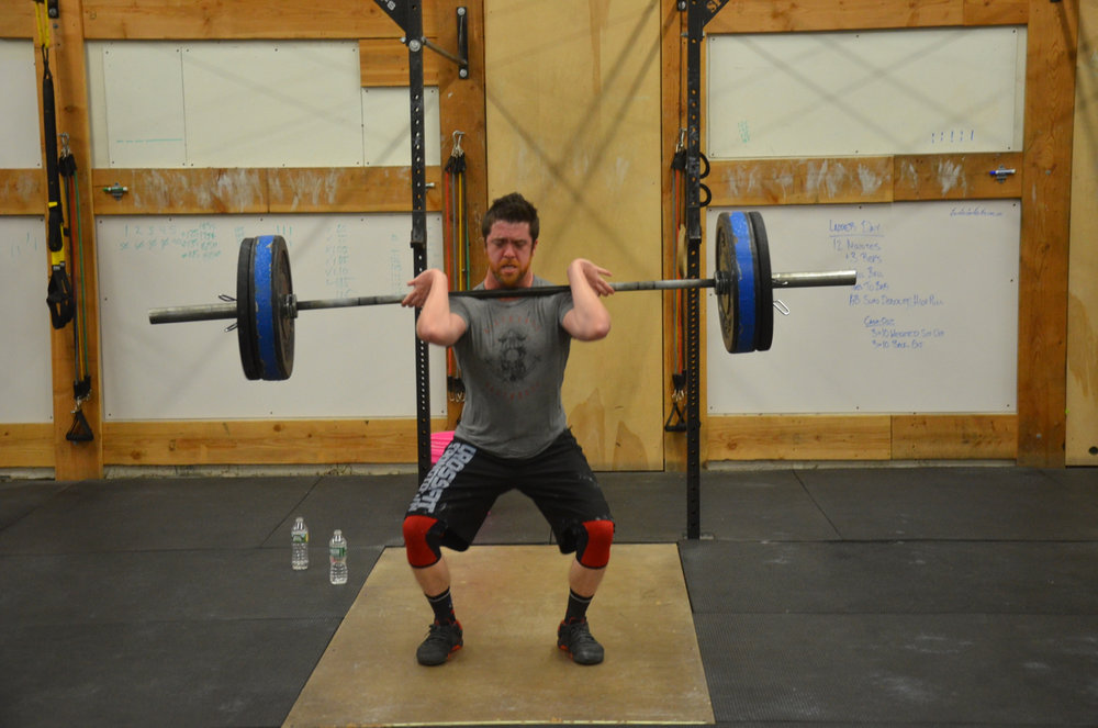 Mikey showing a nice catch position on his Power Cleans.