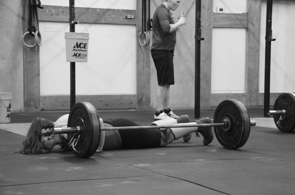 Jess during her Lateral Bar Burpees.