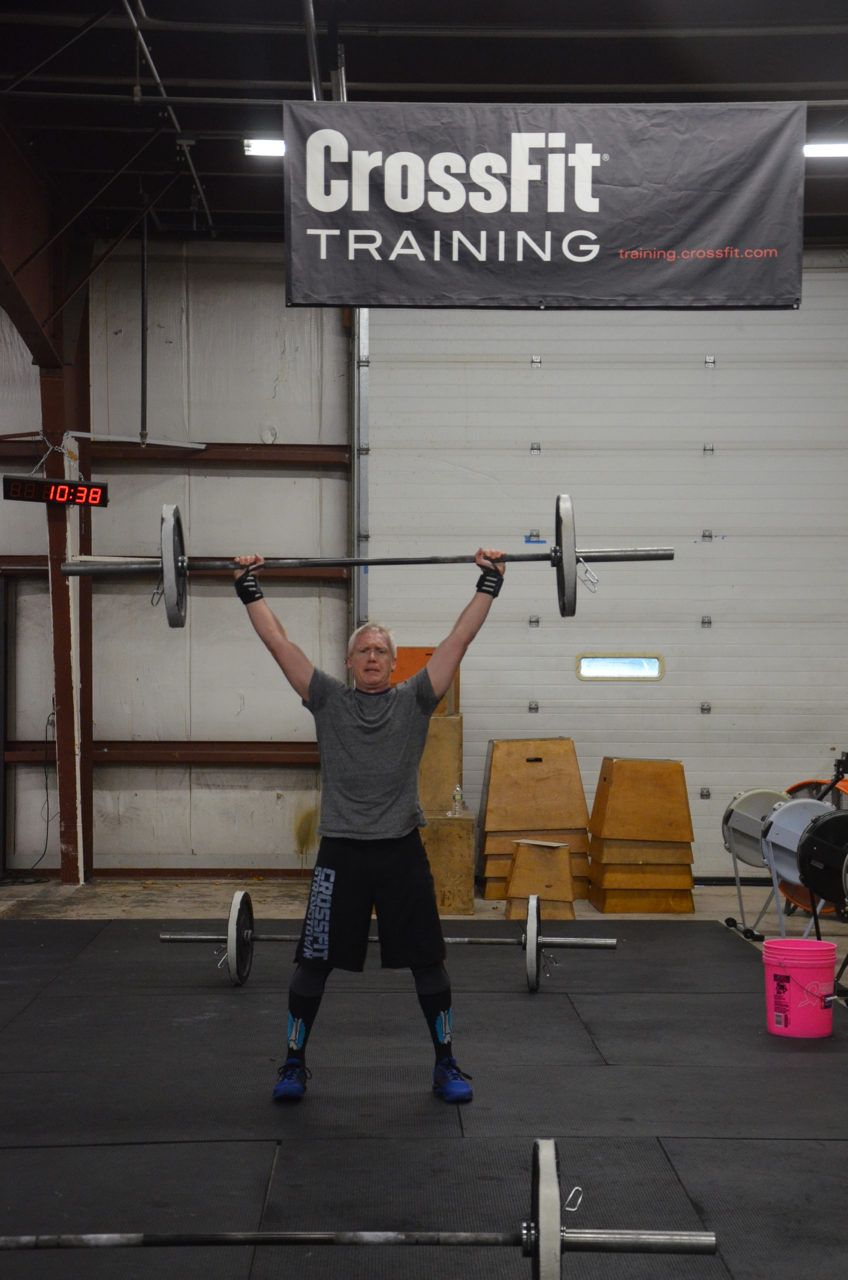 Scott chipping through his power snatches during Saturday's AMRAP.