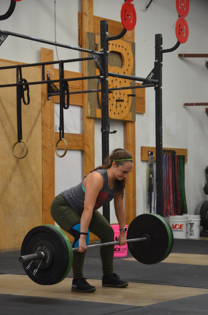 Justina keeping great posture through her Romanian Deadlifts.