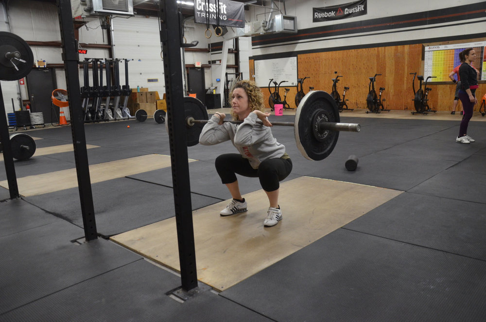 Stacy showing great depth on her Front Squats.