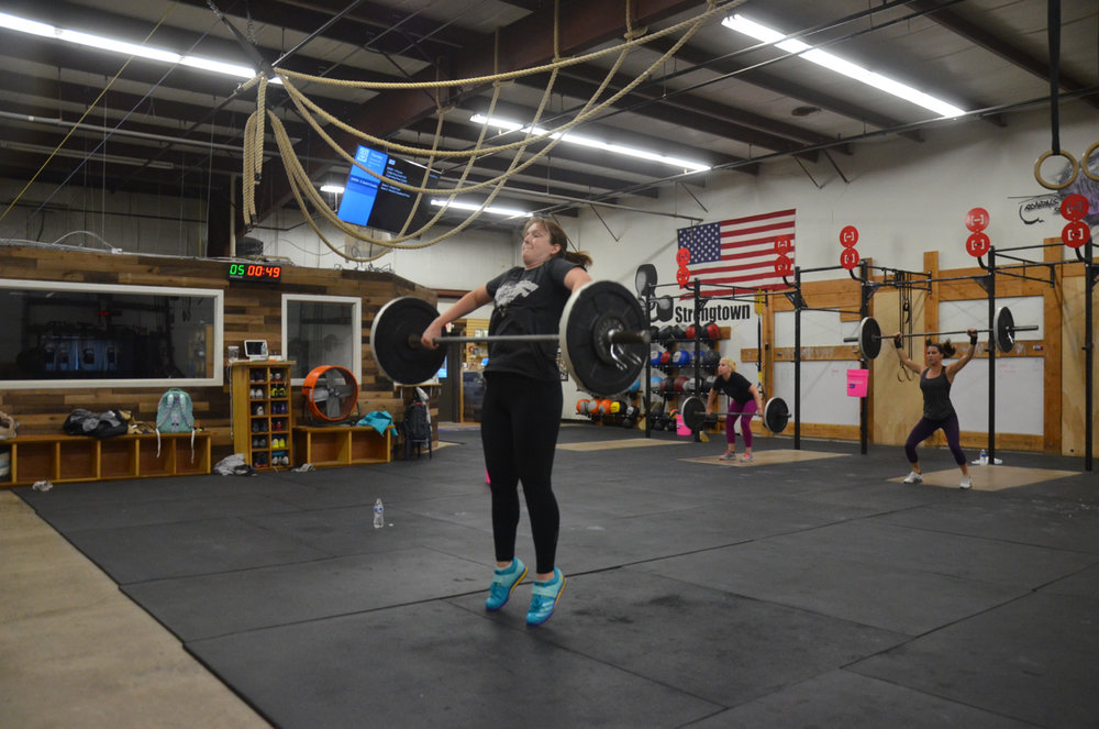 Becky showing a nice extension on the High Hang Snatch Pull.
