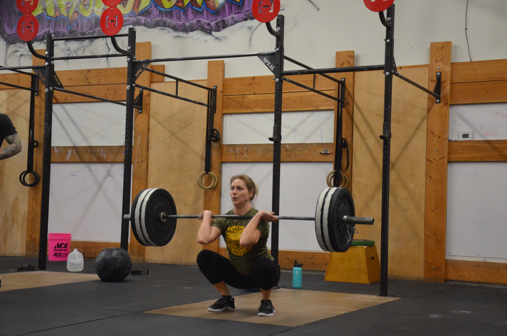 Britt showing a good catch on her Squat Clean.