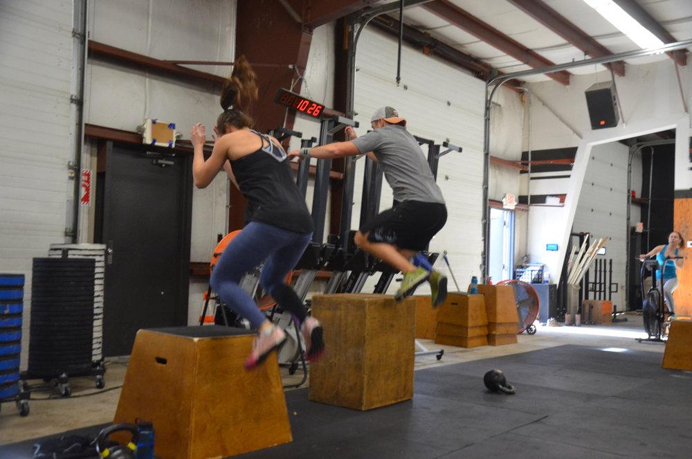 The Babington's with synchronized high box jumps.