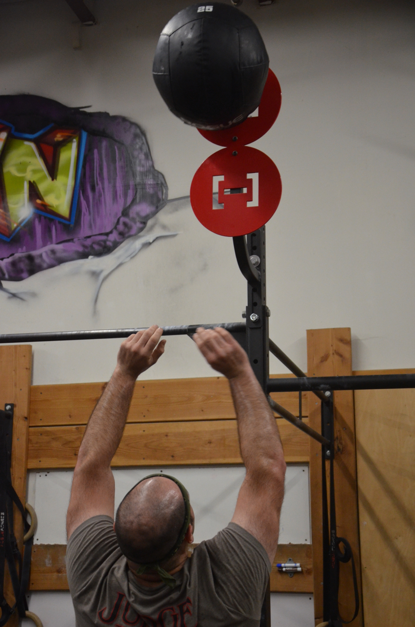 Jim going with the 25 lb Wall-Ball for his 100 reps.